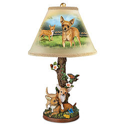Chihuahua Table Lamp with Linda Picken Art and Sculpted Base