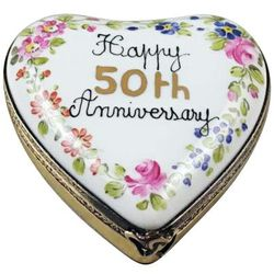 Happy 50th Anniversary Heart Limoges Box