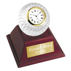 Personalized Crystal Golf Ball Clock with Wooden Base