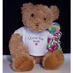 Personalized I Love You Teddy Bear with Treat