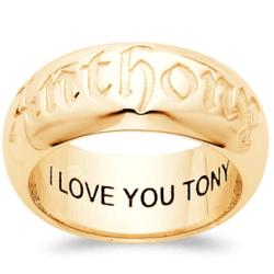 Sculpted 18K Gold Over Sterling Top-Engraved Large Name Band