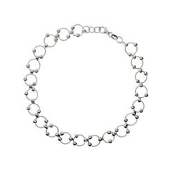 Beaded Circle Link Sterling Silver Anklet
