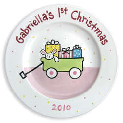 Girl's First Christmas Personalized Plate