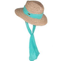 Raffia Safari Hat with a Georgette Scarf