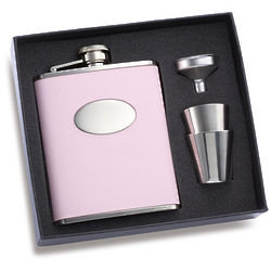 Pink Leather Flask with 2 Shot Glasses
