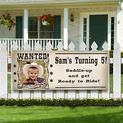 Personalized Wanted Cowboy Photo Birthday Banner
