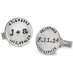 Personalized Latitude Longitude Silver Cufflinks