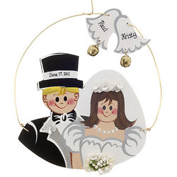 Personalized Bride and Groom Wooden Christmas Ornament