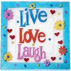 Square Glass Live Laugh Love Platter
