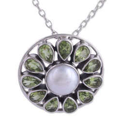 Peridot Petals Pendant with Cultured Pearls