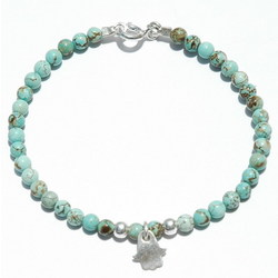 Turquoise Beads Bracelet with Hamsa Charm