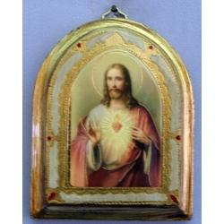 Sacred Heart of Jesus Bell-Shaped Florentine Plaque