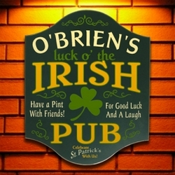 Luck of the Irish Personalized Pub Sign