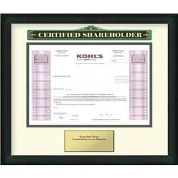 Framed Kohl's Stock Certificate