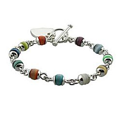 Colorful Cat's Eye and Sterling Silver Heart Tag Bracelet