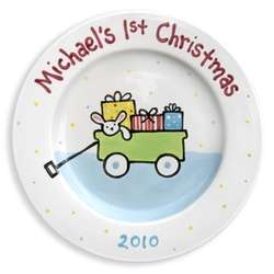 Boy's First Christmas Personalized Plate