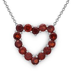 Garnet Sterling Silver Heart Pendant