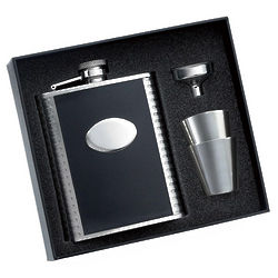 Black Leather Flask with 2 Shot Glasses