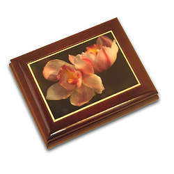 Large Orchid Musical Jewelry Box