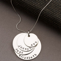 Mother's Personalized Stacking 4 Disc Necklace