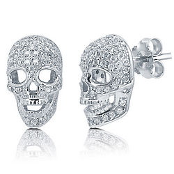 Cubic Zirconia Sterling Silver Cool 3D Skull Head Earrings
