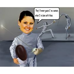 Fencing Caricature Art Print