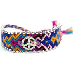 America Knitted Bracelet with CZ Peace Sign and Beads