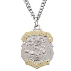 """St. Michael Police Shield Medal on 24"""" Steel Chain"""