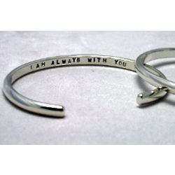 'I Am Always With You' Women's Memorial Sterling Cuff Bracelet