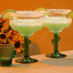 Personalized Cactus Stem Margarita Glasses