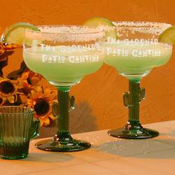Personalized Cactus Stem Margarita Glasses