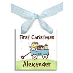 Boy's Personalized First Christmas Wagon Ornament