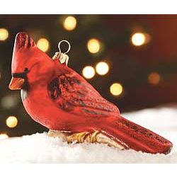 Hand-Blown Red Cardinal Glass Ornament