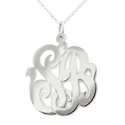 Hand Cut and Monogrammed Sterling Silver Pendant