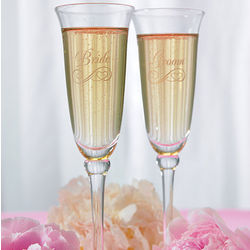 Bride and Groom Etched Flutes