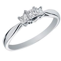 Princess Cut Three Stone Diamond Engagement Ring