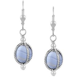 Crowning Accents Blue Lace Agate Dangle Earrings