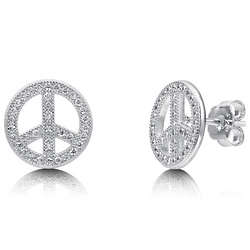 Micro Pave Cubic Zirconia Sterling Silver Peace Sign Earrings