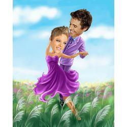 Dancing Fields Caricature Personalized Print