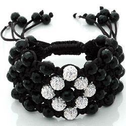 Black Onyx and CZ Beads Macrame Bracelet