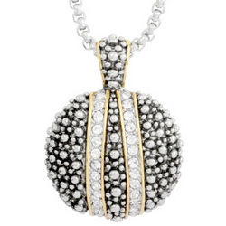 Dotted Cubic Zirconia Medallion Necklace