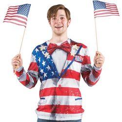 Americana Flag Print Tux Shirt