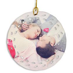 Custom Photo Open Wreath Design Porcelain Ornament