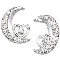 I Love You To The Moon & Back Daughter Diamond Earrings