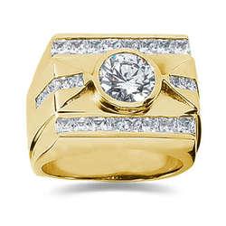 1.80 ctw Men's Diamond Ring in 14K Yellow Gold