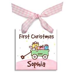 Girl's Personalized Baby's First Christmas Wagon Ornament