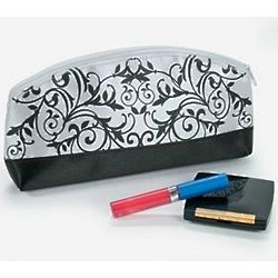 Black And White Damask Cosmetic Bag