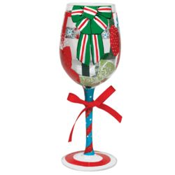 Hand-Painted Tie One On Holiday Wine Glass