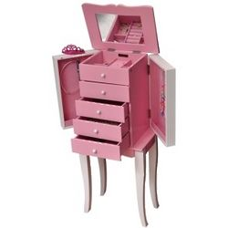 Girl's Pink and White Jewelry Armoire