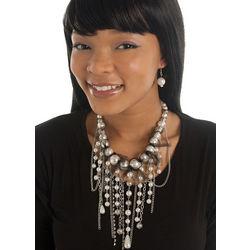 Faux Pearls Tassel Cluster Necklace Earring Set